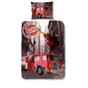 1-persoons kinderdekbedovertrek brandweerwagen