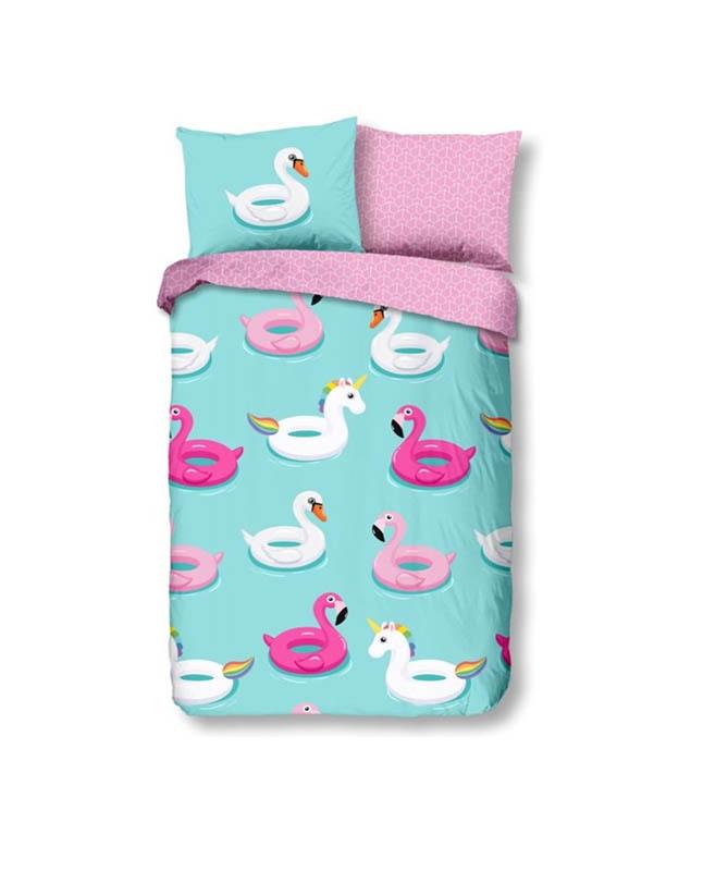 1-persoons kinderdekbedovertrek unicorns en flamingo's