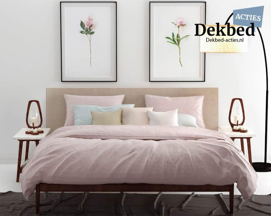 oud roze dekbedovertrek gemeleerd