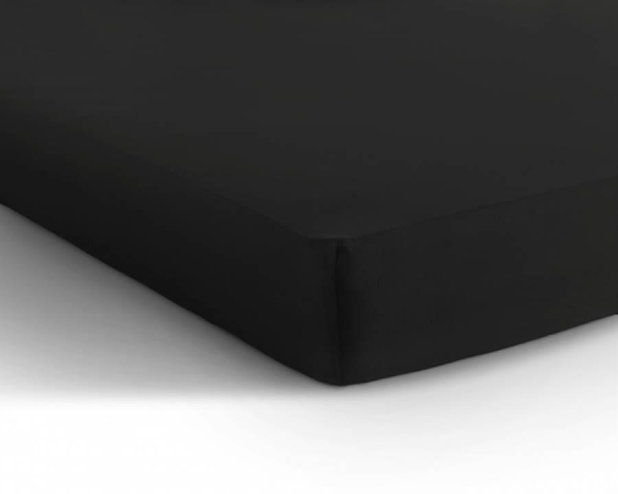 Hoeslaken zwart dubbel jersey (katoen)
