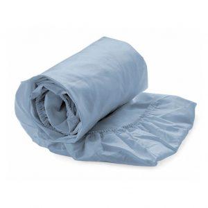 hoeslaken blauw (katoen-satijn)